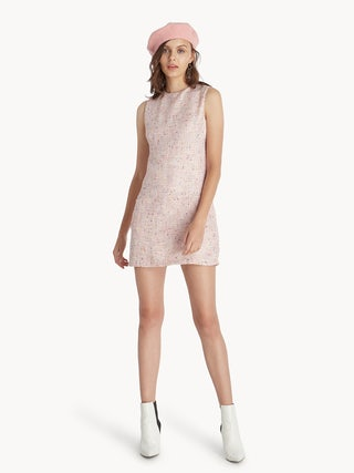575d252940b Mini Baby Doll Tweed Dress - Pink - Pomelo Fashion