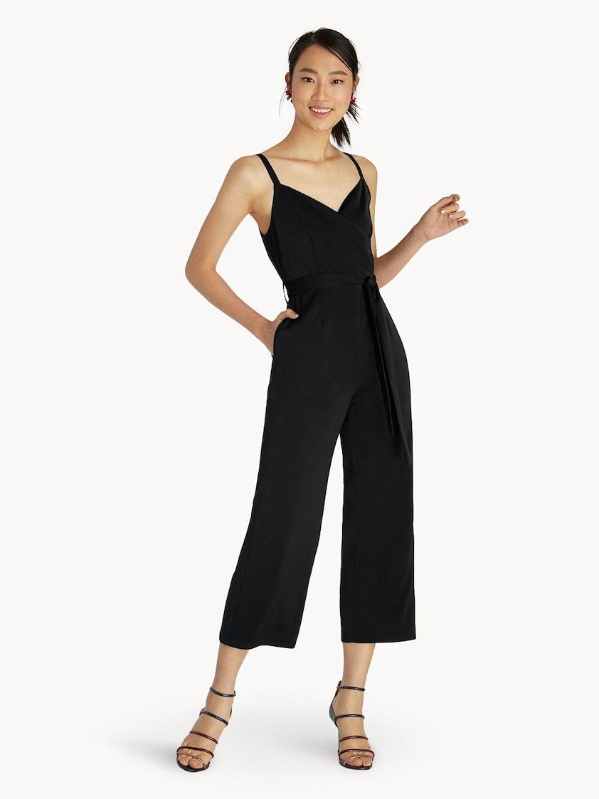 00250ed4a6fe Cami Tie Waist Jumpsuit - Black - Pomelo Fashion