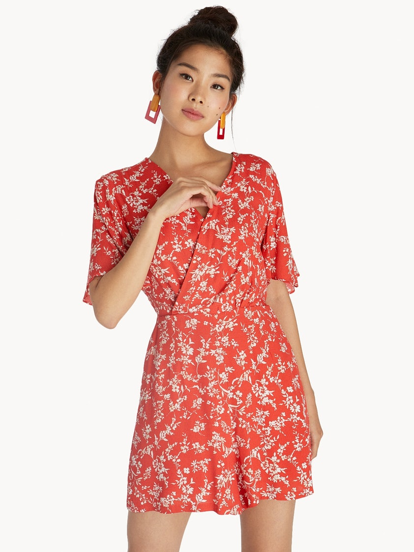 78eb80ce6c6e Floral Bell Sleeve Wrap Romper - Red - Pomelo Fashion