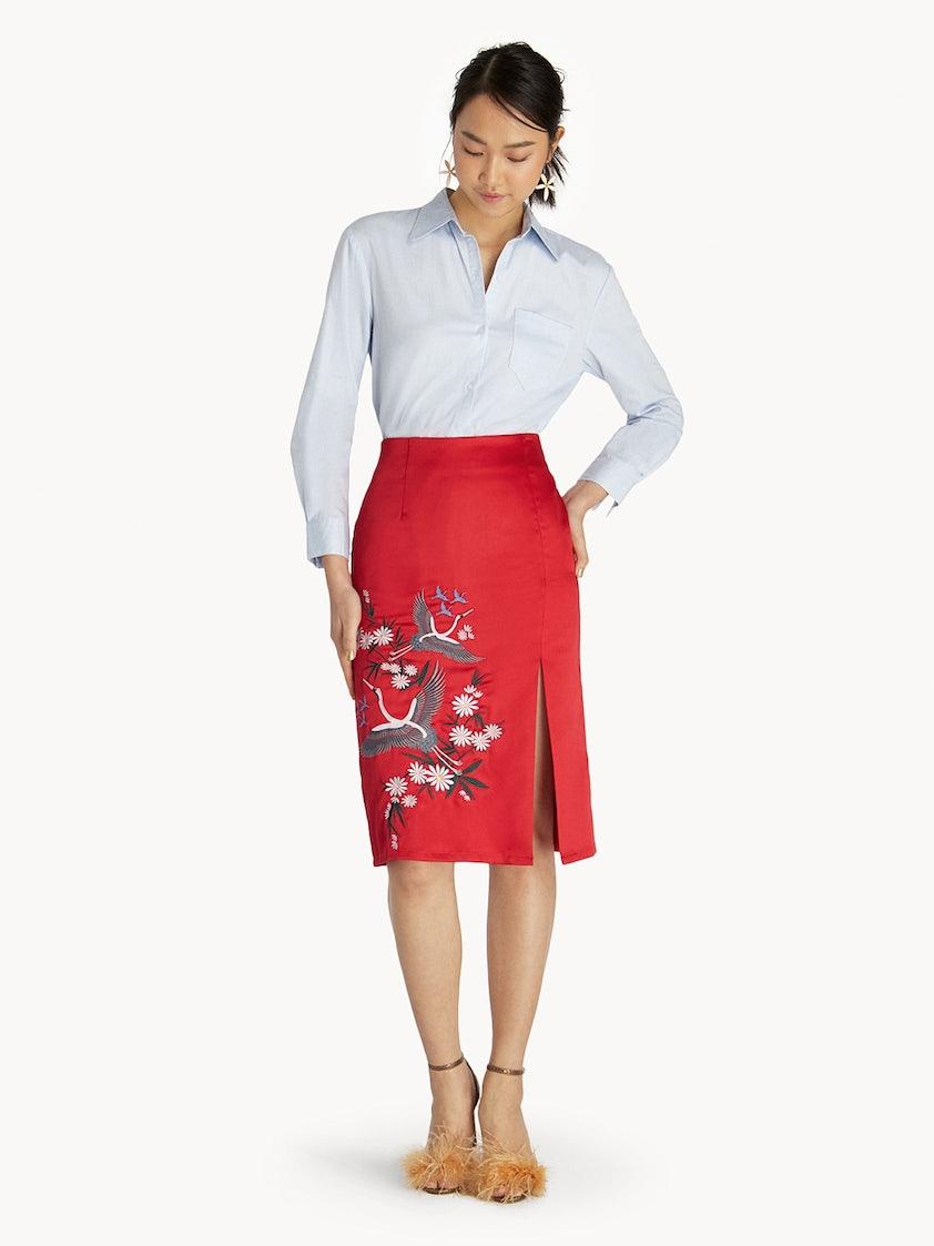 f4b1935dc6 Midi Front Slit Classic Print Skirt - Red - Pomelo Fashion