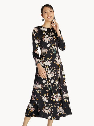 9ad652ad6b924 Maxi Contrast Piping Floral Flared Dress - Black - Pomelo Fashion