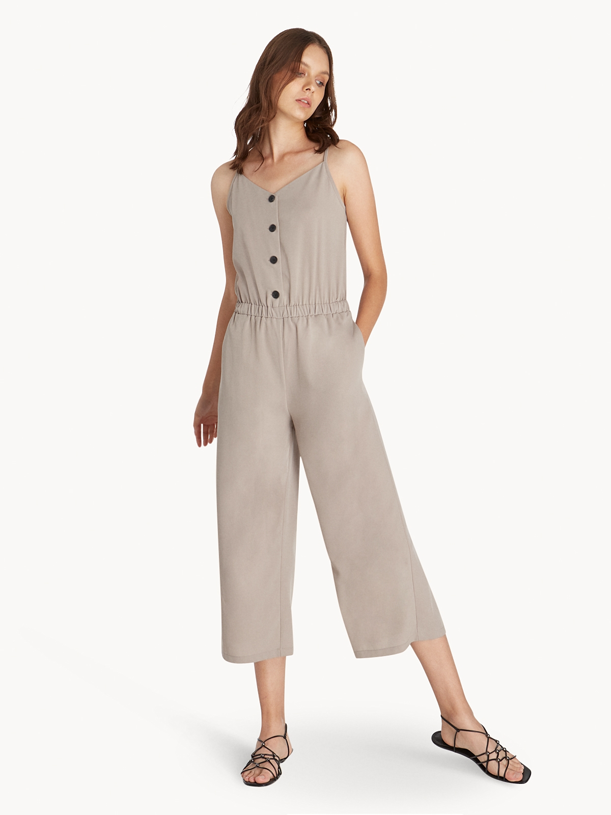 1ed9a8facafe Cami Button Up Jumpsuit - Mid Grey - Pomelo Fashion