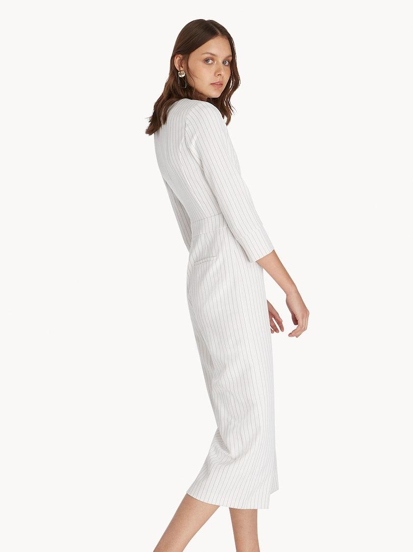 a674ef247498 Cropped Striped Surplice Jumpsuit - White - Pomelo Fashion