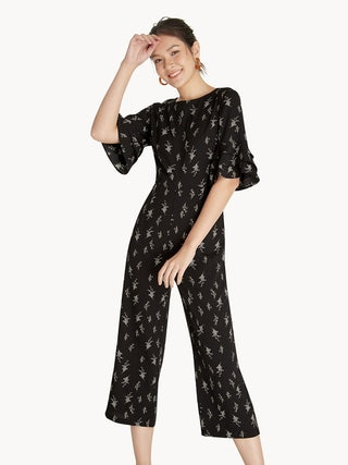 333791a350f9 Floral Ruffled Sleeves Jumpsuit - Black - Pomelo Fashion