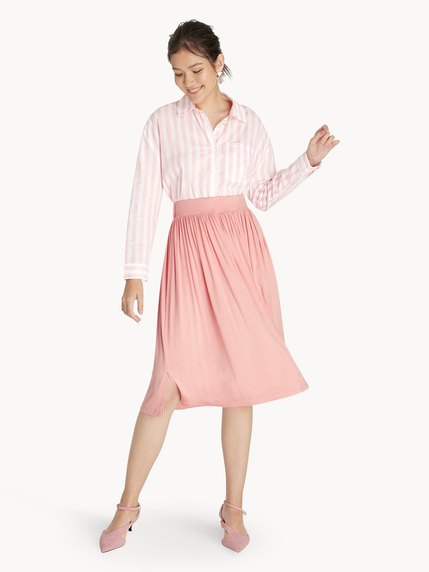 903ed145d Midi Pleated Jersey Skirt - Pink - Pomelo Fashion