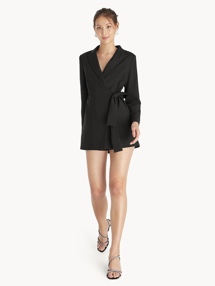3decd44d737d Side Wrap Romper - Black - Pomelo Fashion