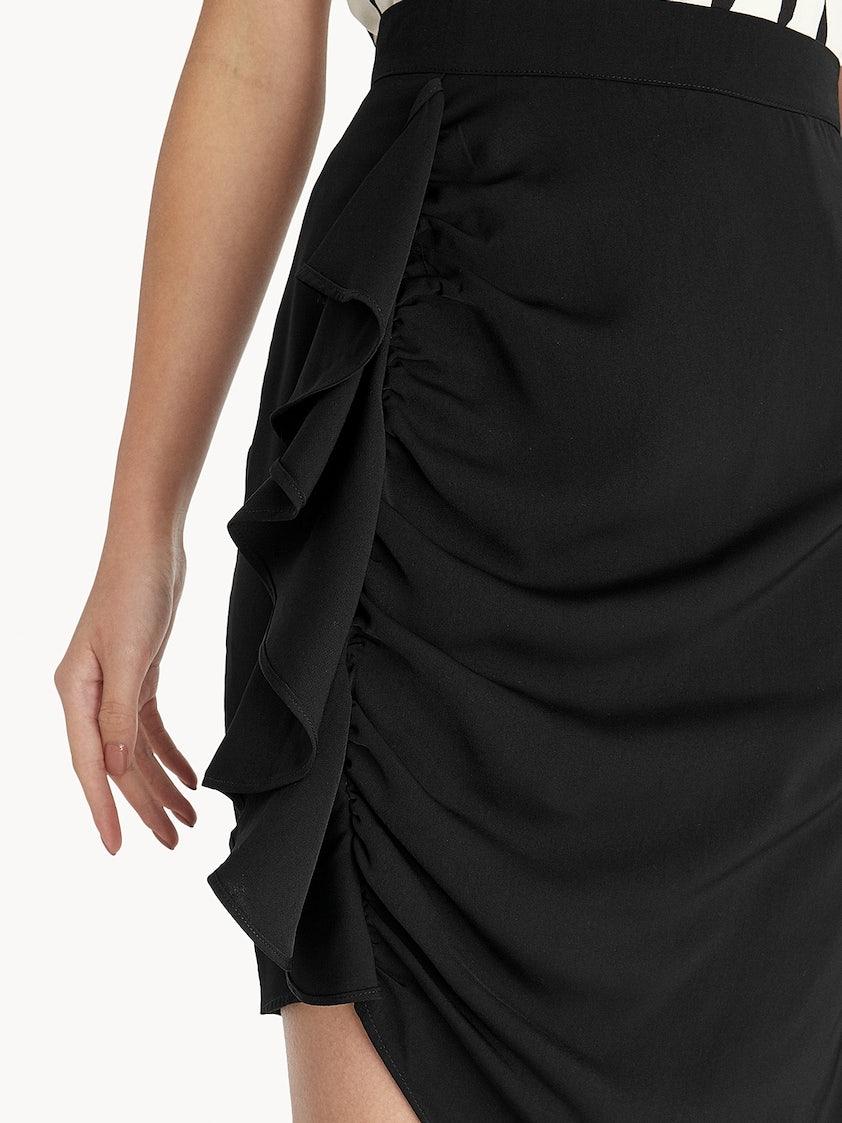 cfb953a4e1567 Asymmetric Side Ruffle Skirt - Black - Pomelo Fashion