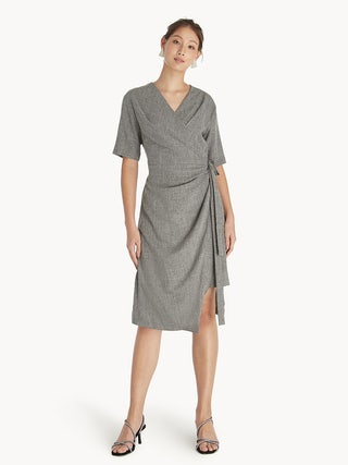 a9d71fb18d0 Midi Relaxed Wrap Dress - Mid Grey - Pomelo Fashion