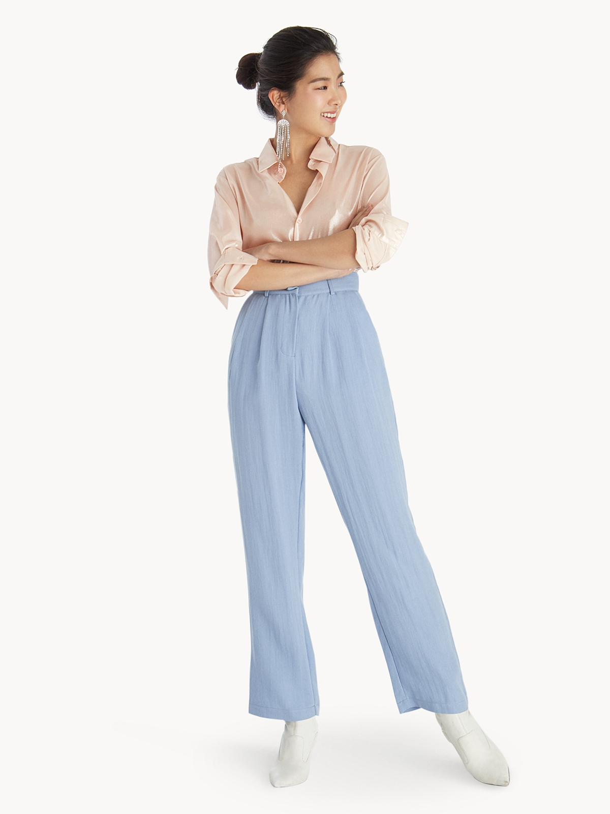 ad3dbe552012 High Waisted Tailor Pants - Blue - Pomelo Fashion