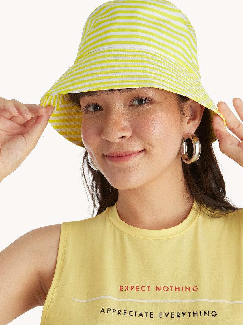 e0547b1ed4d50 Stripe Bucket Hat - Yellow - Pomelo Fashion