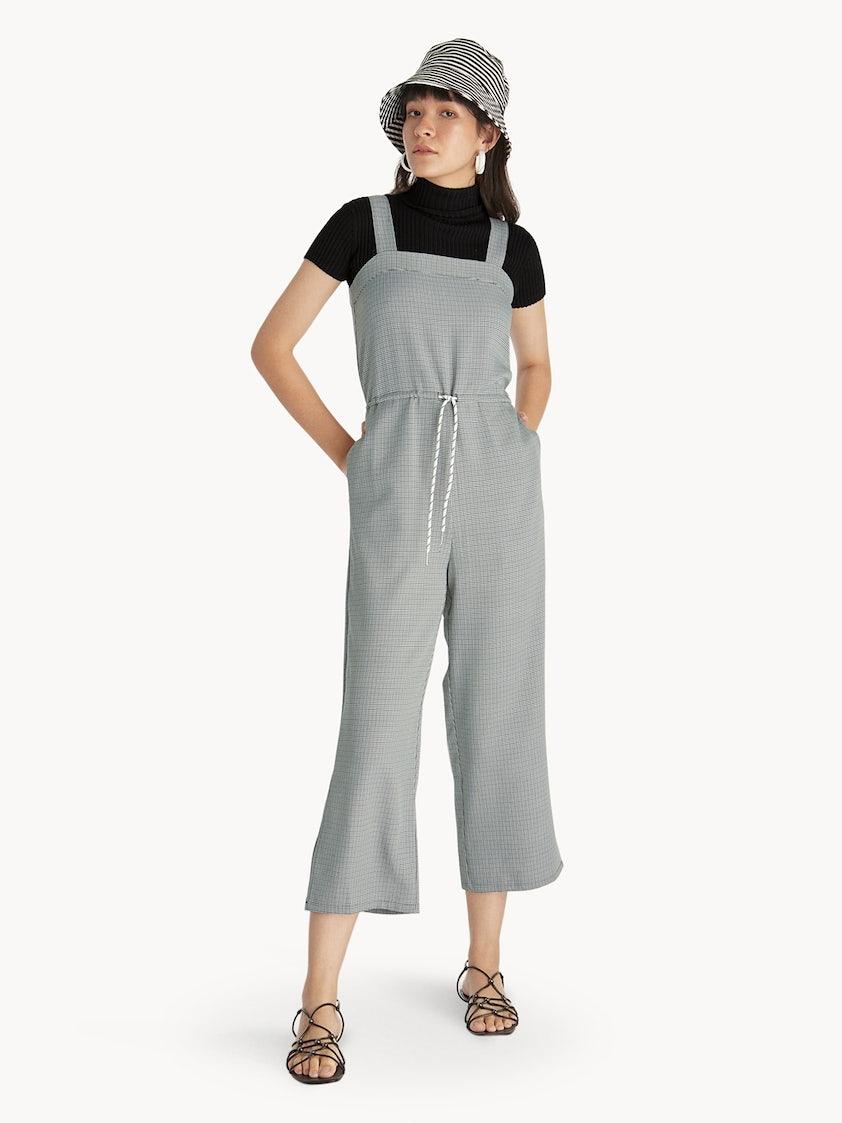 c4964d3f4836 Houndstooth Drawstring Jumpsuit - Black - Pomelo Fashion