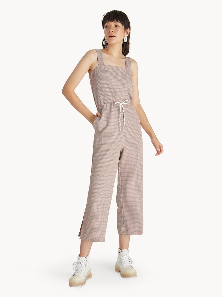8a76aee3f02a Houndstooth Drawstring Jumpsuit - Orange - Pomelo Fashion
