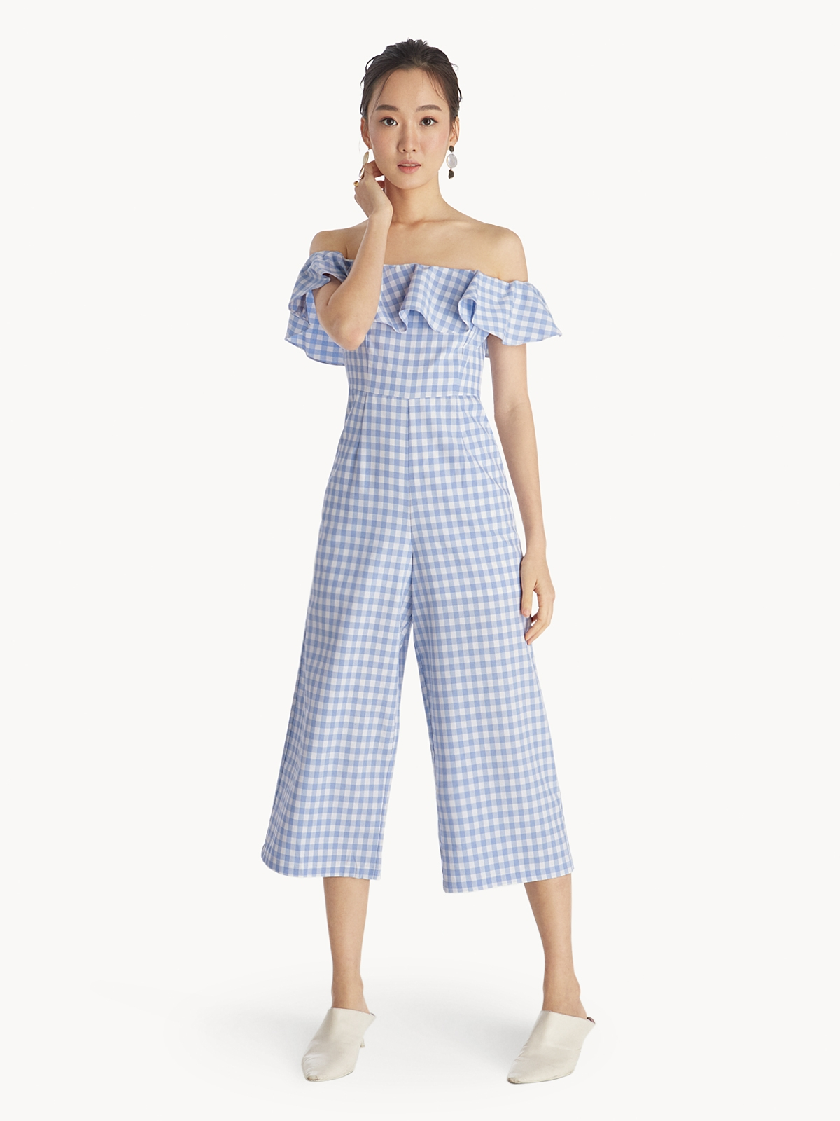 91a93524a3b Gingham Ruffled Off Shoulder Jumpsuit - Blue - Pomelo Fashion