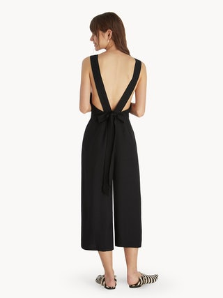 2aace27da55c Open Back Bow Tie Jumpsuit - Black - Pomelo Fashion