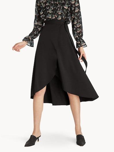 8d90f9e12355 Midi Ruffled Wrap Skirt - Black
