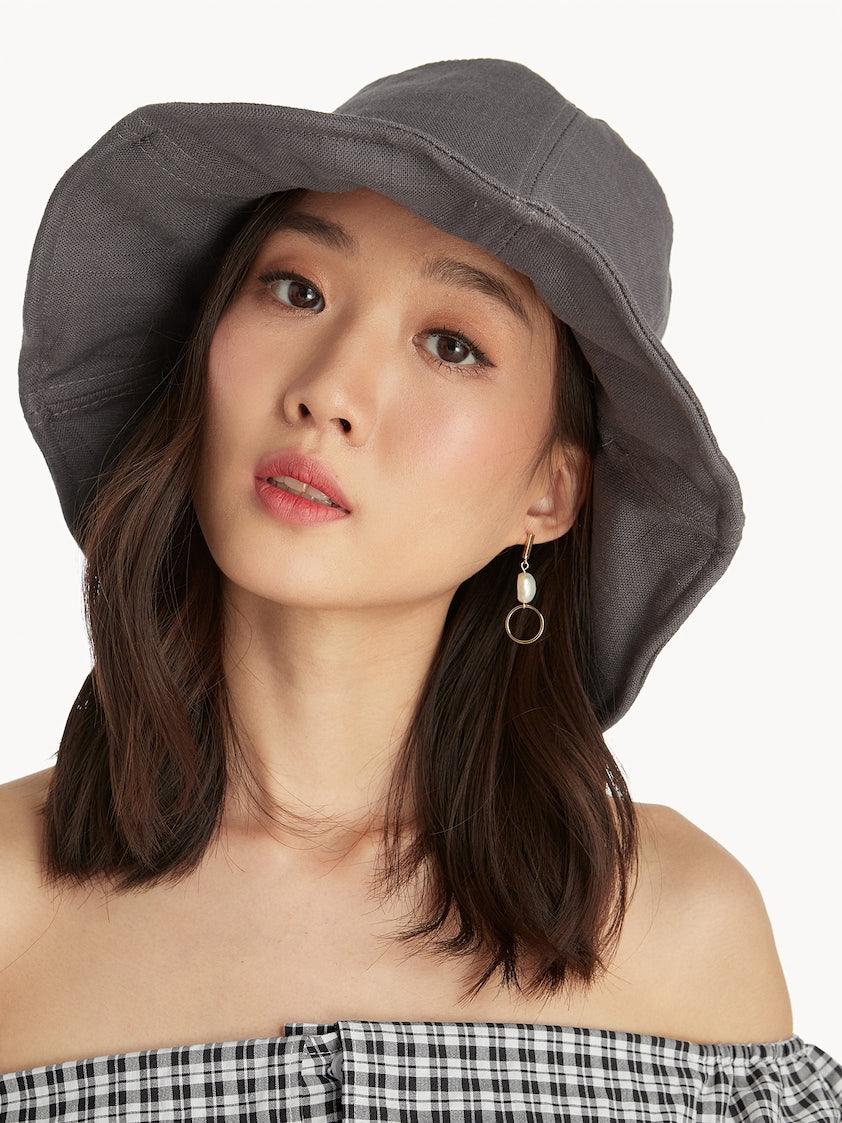 dfd74ab125531 Canvas Bucket Hat - Light Grey - Pomelo Fashion