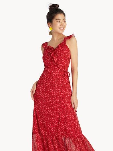 23749eb146b Maxi Surplice Ruffle Dress - Red