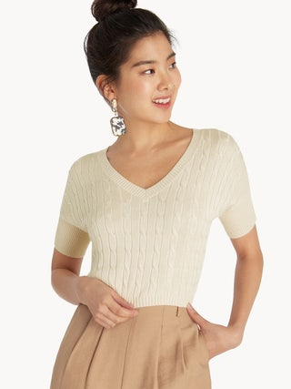 7dae654204749 Knitted Crop Top - Cream - Pomelo Fashion
