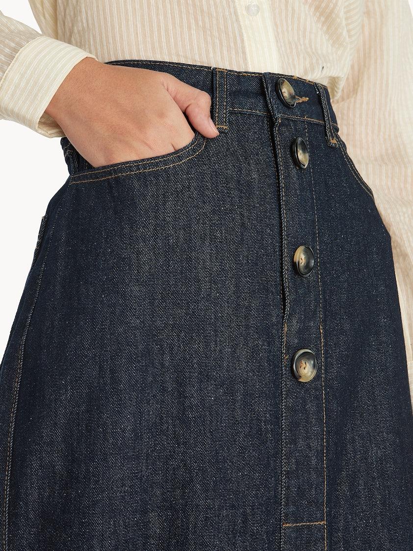 91142cefcf Midi Front Slit Denim Skirt - Blue - Pomelo Fashion