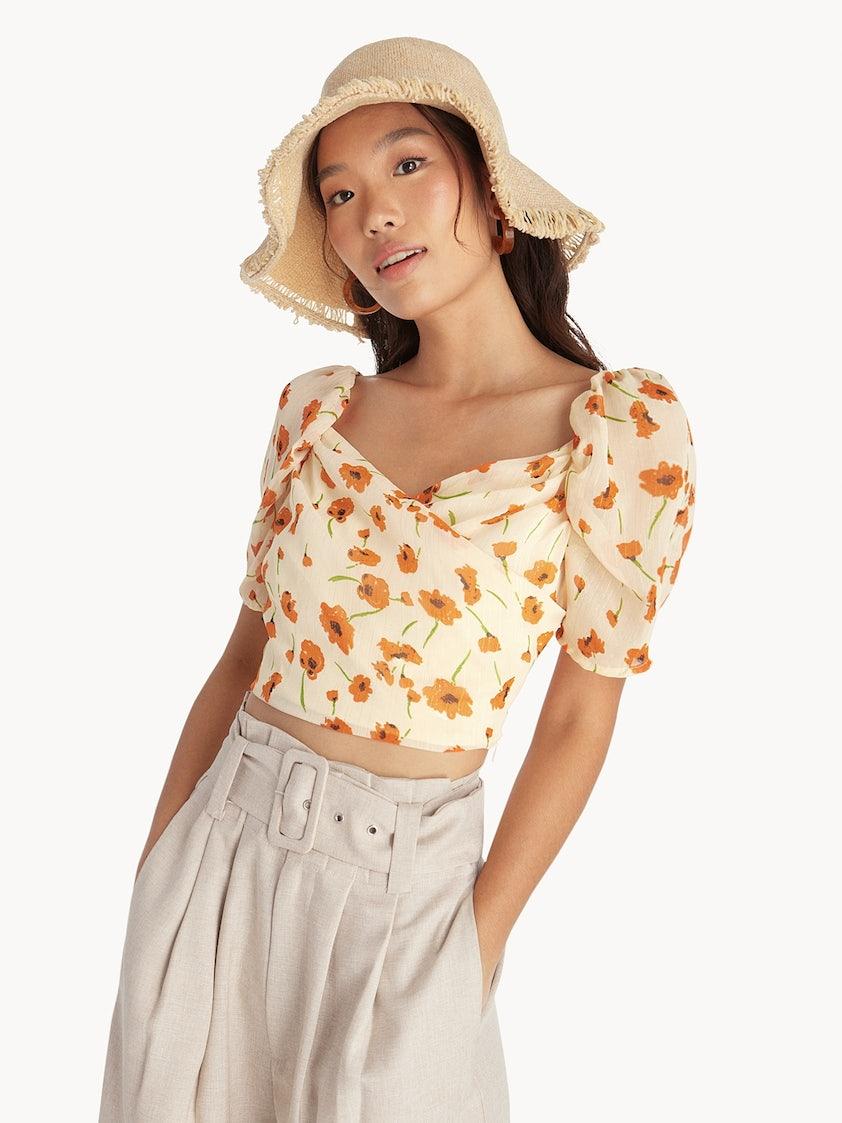 0a5f62a01a3b1 Floral Puffed Sleeve Crop Top - Cream - Pomelo Fashion