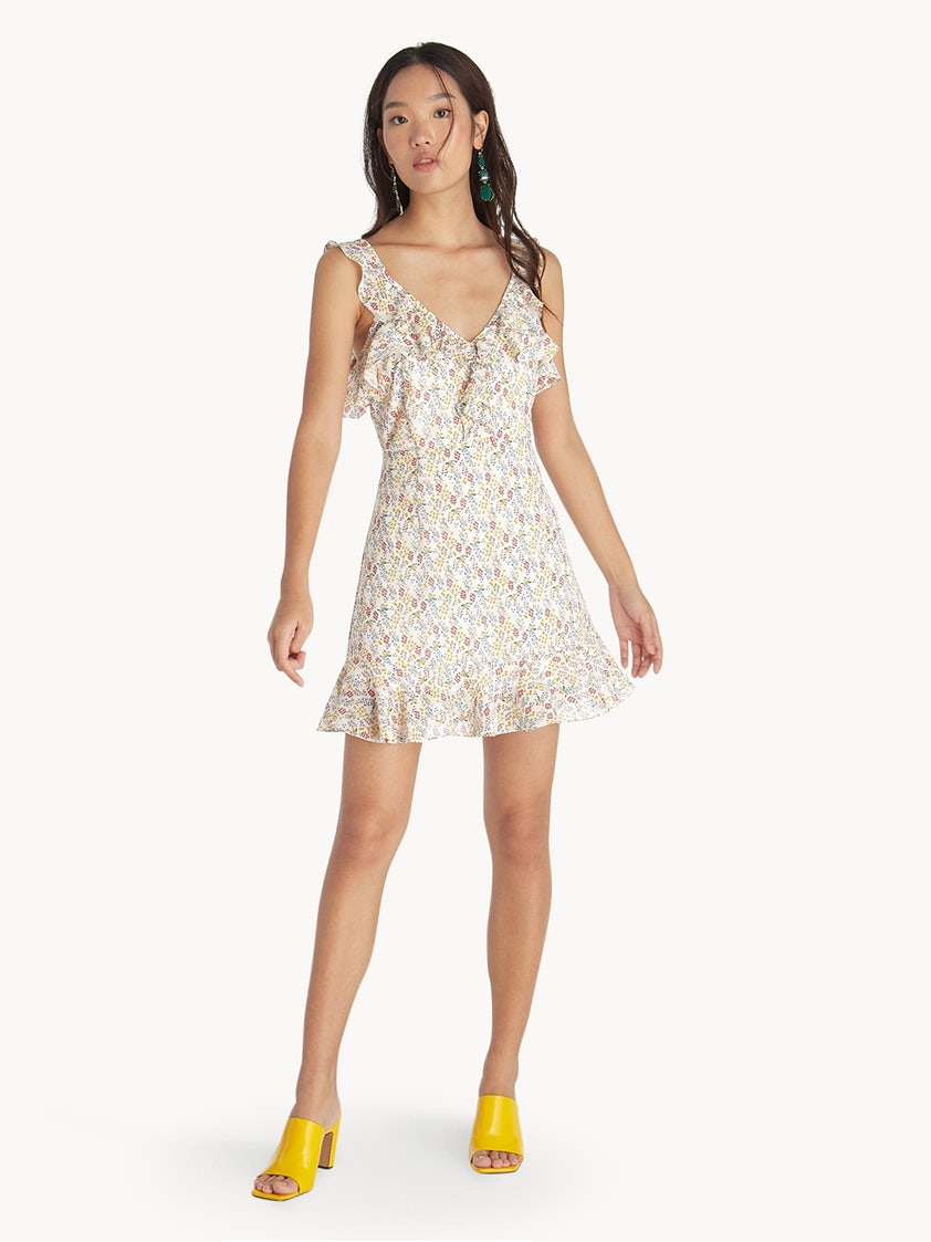 e50bddb8 Ruffled Open Back Mini Dress - White - Pomelo Fashion