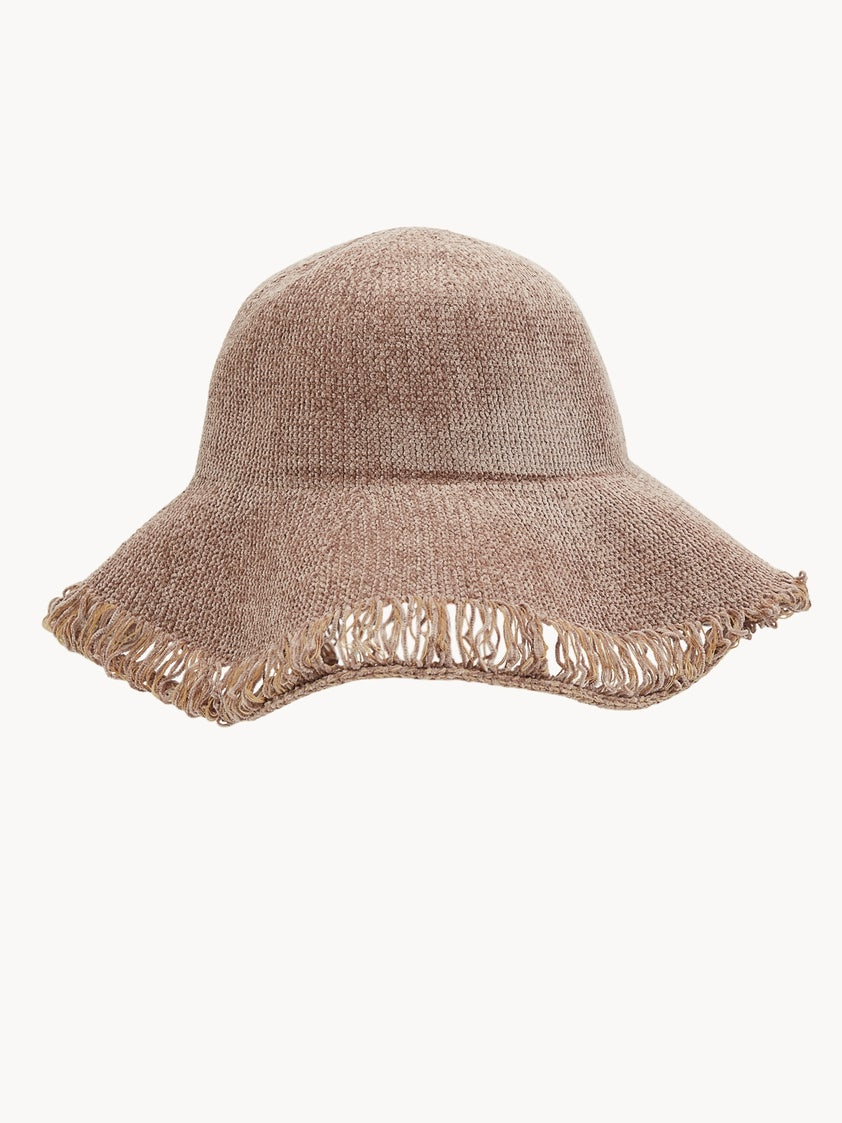 6389d8c066bd2 Frayed Crochet Bucket Hat - Brown - Pomelo Fashion