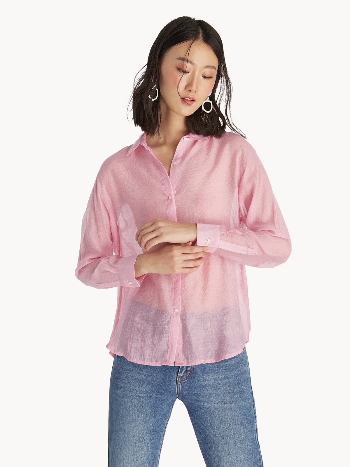 ca7a6b1c1 Buttoned Up Collar Shirt - Pink - Pomelo Fashion