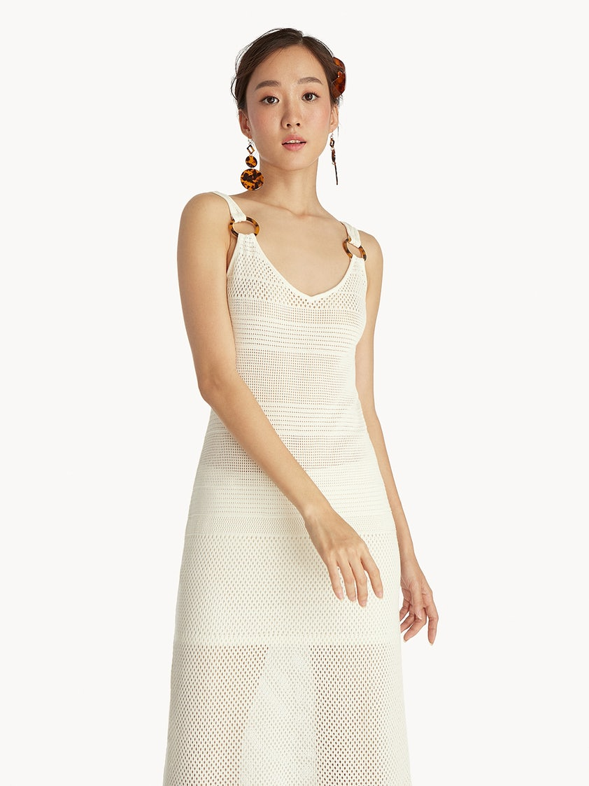 Maxi Crochet Sheer Dress White Pomelo Fashion