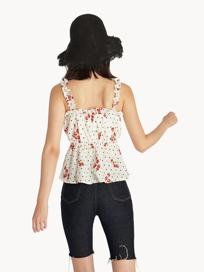 b955f589b9f9f7 Frilled Cherry Print Tank Top - White - Pomelo Fashion