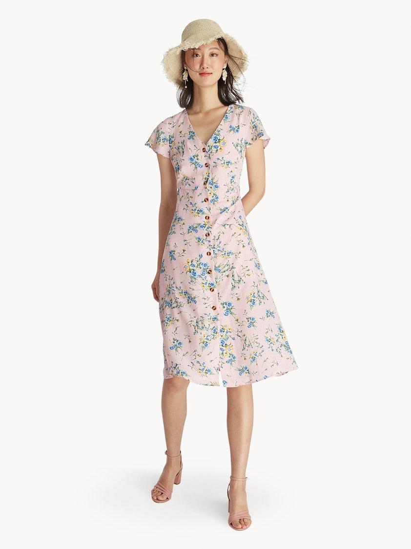 3f0ddb4298e Midi Button Up Mixed Prints Dress - Pink - Pomelo Fashion