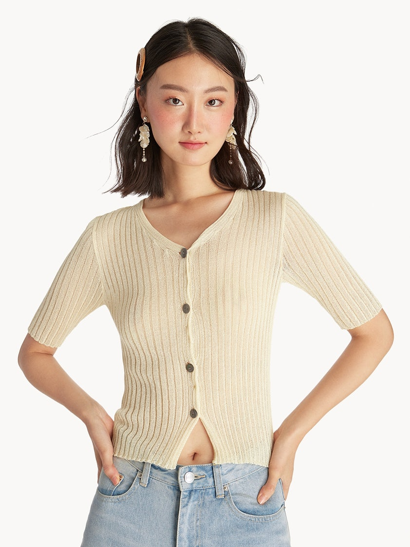 0e671186d1fb62 Ribbed Button Up Top - Beige - Pomelo Fashion