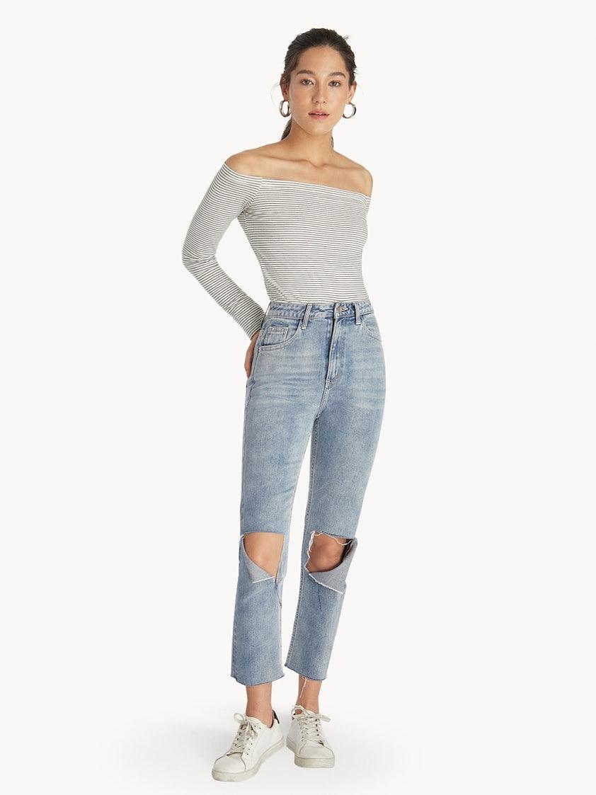 24c5b286891c21 Striped Off Shoulder Top - White - Pomelo Fashion