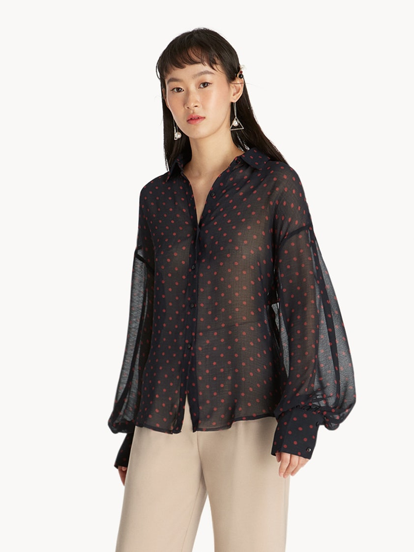 0453a85bfe839 Sheer Puff Sleeve Blouse - Navy - Pomelo Fashion