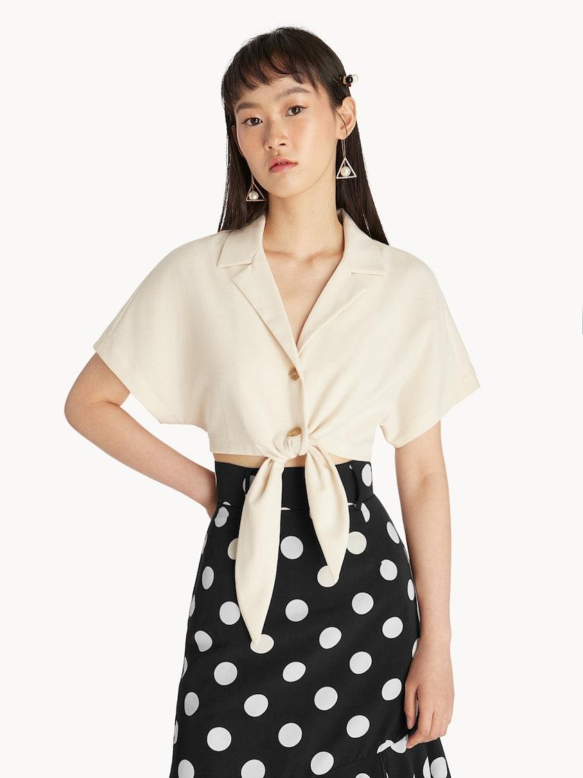 0e396562f1dd4 Tie Front Crop Top - Cream - Pomelo Fashion