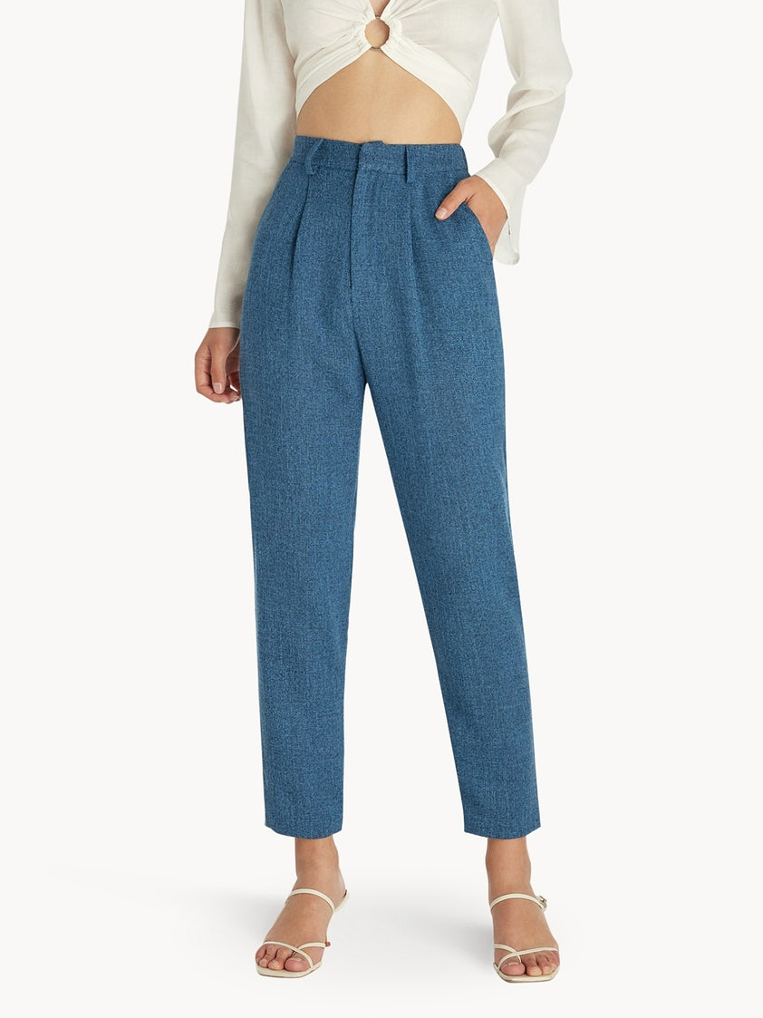 Cropped Light Weight Pants - Blue - Pomelo Fashion