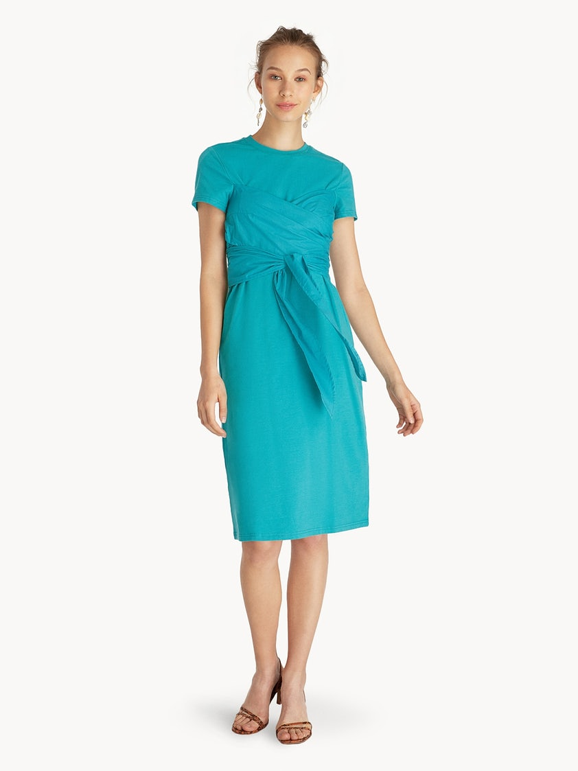 0209d6a2b8219 Purpose Midi Front Tie Dress - Teal - Pomelo Fashion