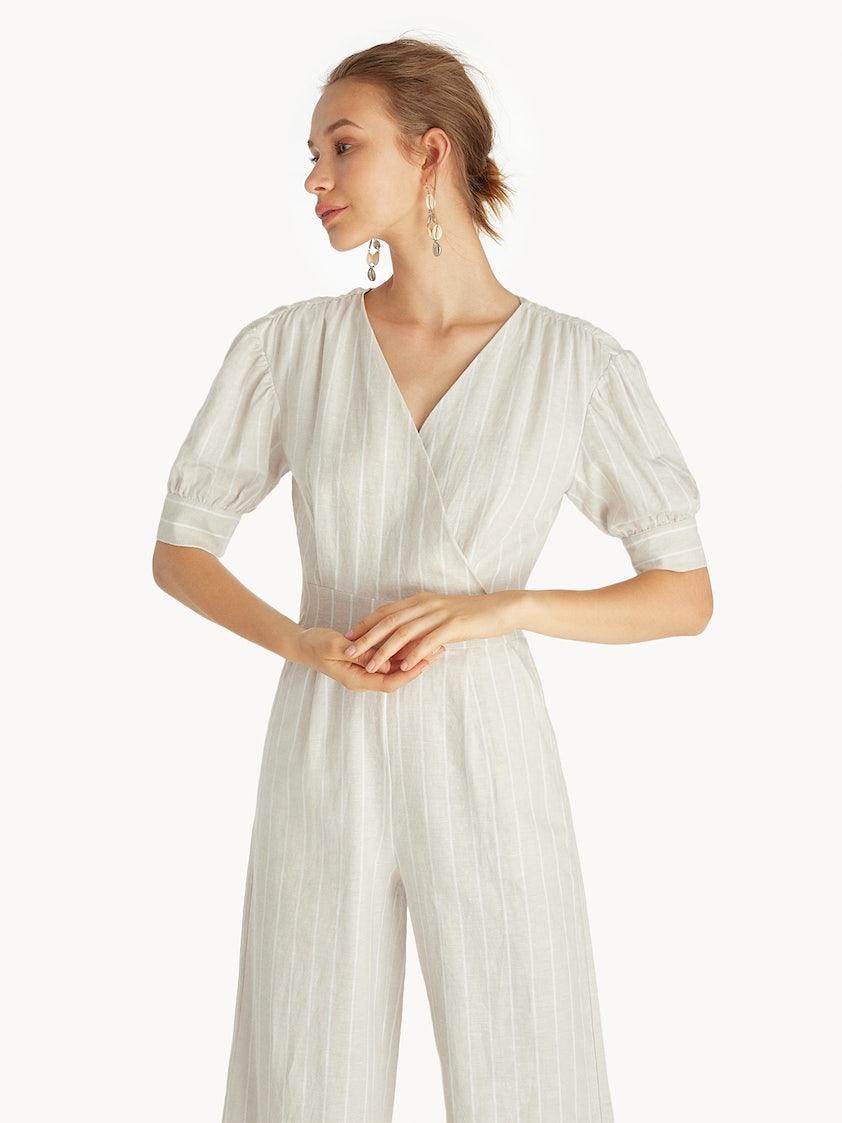 e808afa4853d Purpose Striped Surplice Jumpsuit - Beige - Pomelo Fashion