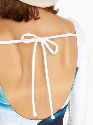 264eb34c469e7 Sea Salt & Vinegar Long Sleeve Swimsuit - Aqua Blue - Pomelo Fashion