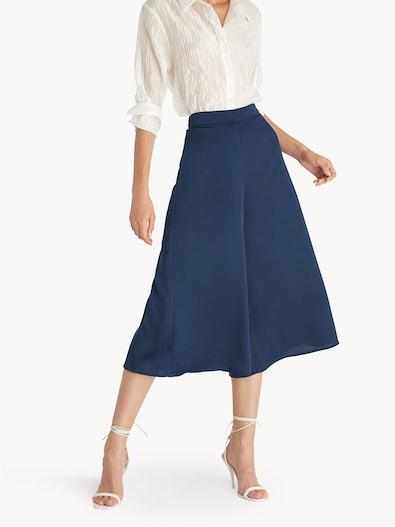 529353ea732d Cropped Flowy Wide Leg Pants - Navy
