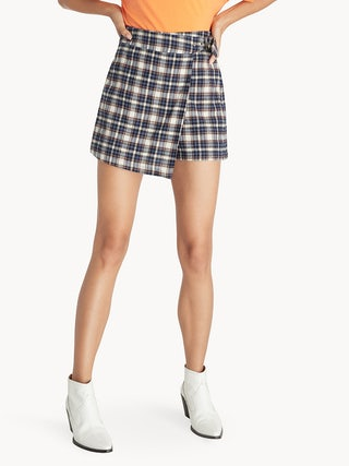 b6297609ed Mini Asymmetric Tartan Skirt - Navy - Pomelo Fashion