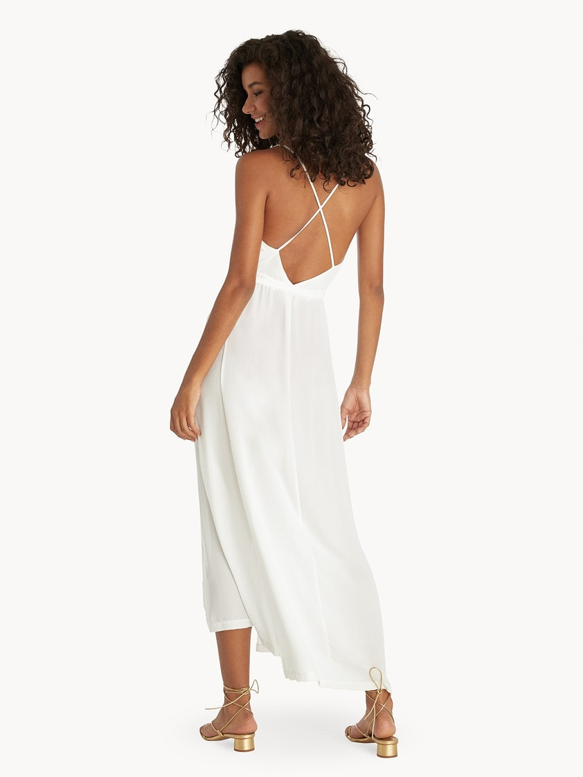 6dd3b5a0cb Maxi Open Back Cover Up Dress - White - Pomelo Fashion