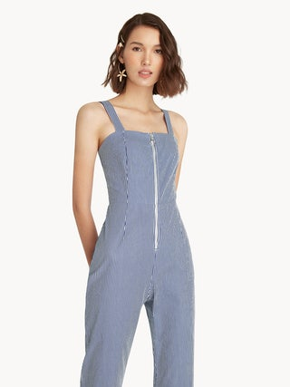 c9bccabfce3b Striped Front Zip Jumpsuit - Blue - Pomelo Fashion