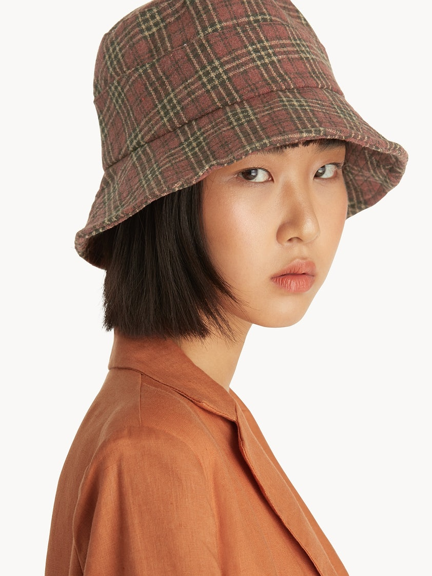 f70a8f27 Soft Tartan Bucket Hat - Pink - Pomelo Fashion