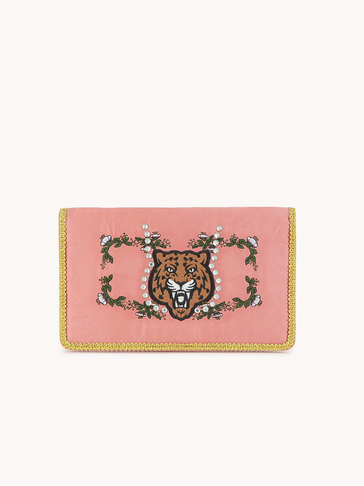 Tiger Print Embroidered Clutch Pink Pomelo Fashion