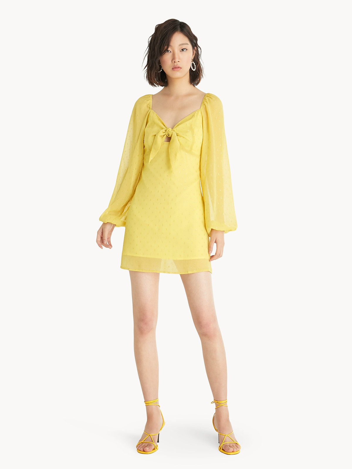 Mini Front Bow Dress Yellow Pomelo Fashion