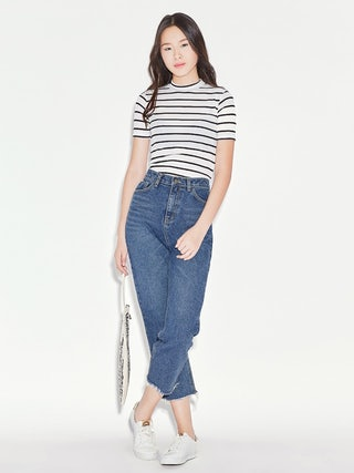 4e20e2ca11 Ellen Frayed Mom Jeans - Pomelo Fashion