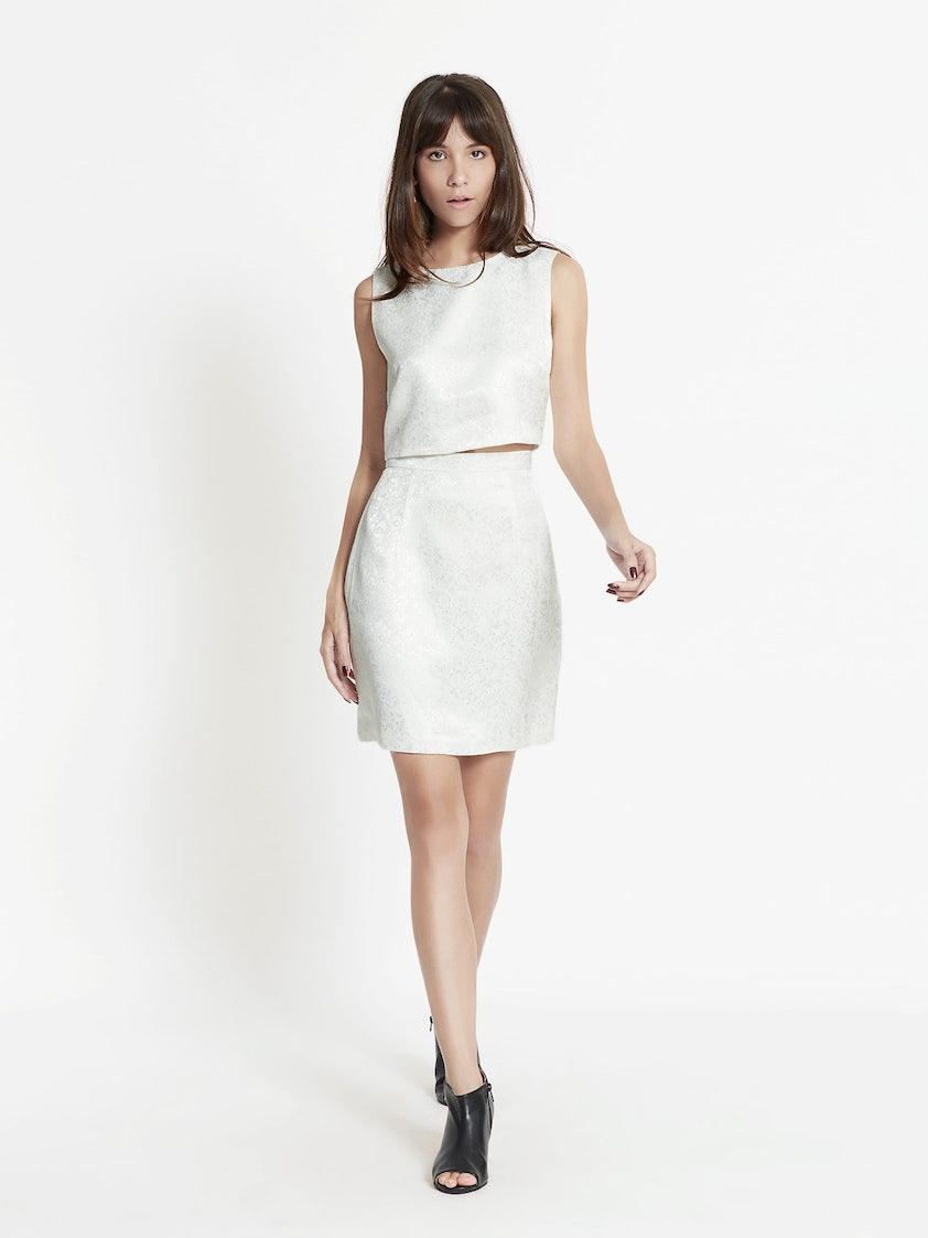 7390c25c62c Pythia Jacquard Crop Top - White - Pomelo Fashion