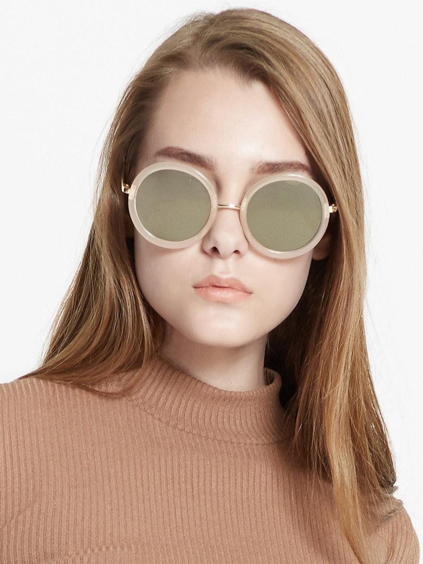 bf9e9ce4a Amsterdam Circle Sunglasses - Beige - Pomelo Fashion