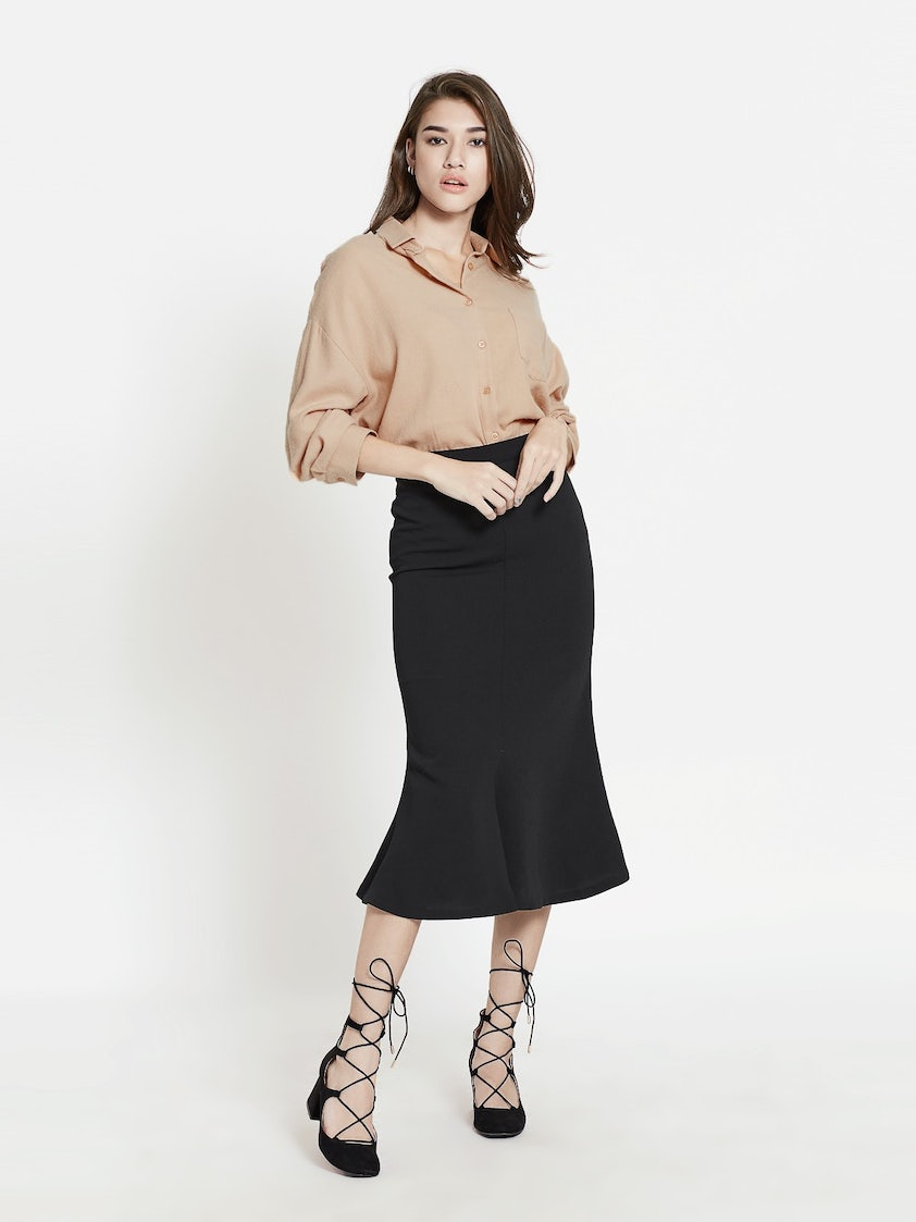 1380387872 Donna Midi Trumpet Skirt - Black - Pomelo Fashion