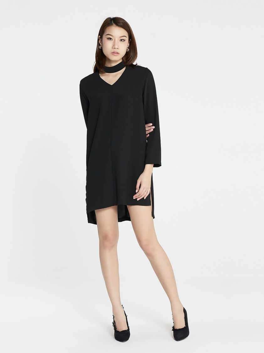 3d80d248f85f Magdalen Loose Choker Dress - Black - Pomelo Fashion